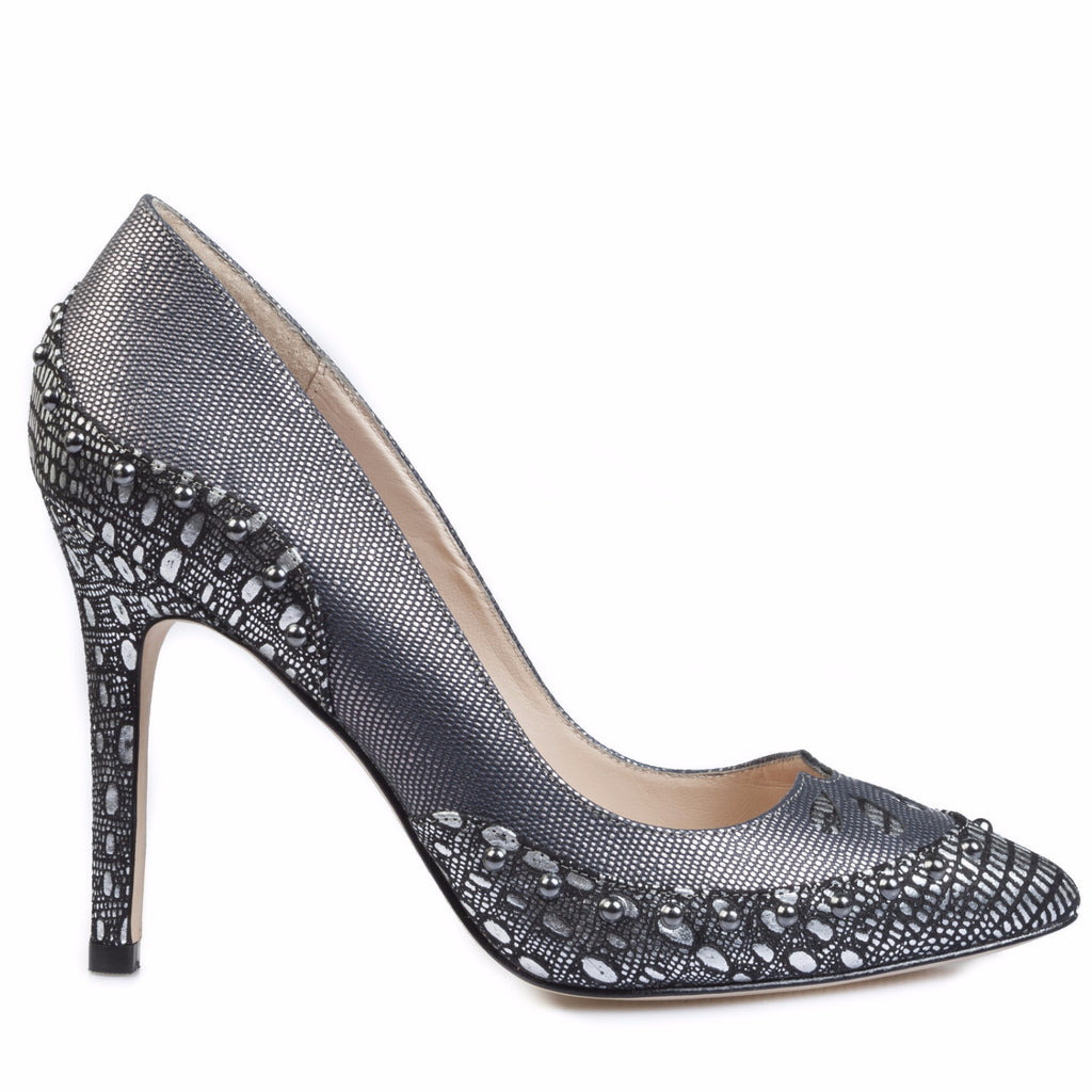 Lucy-Choi-Pistol-Black-And-Silver-Heels-Silkarmour