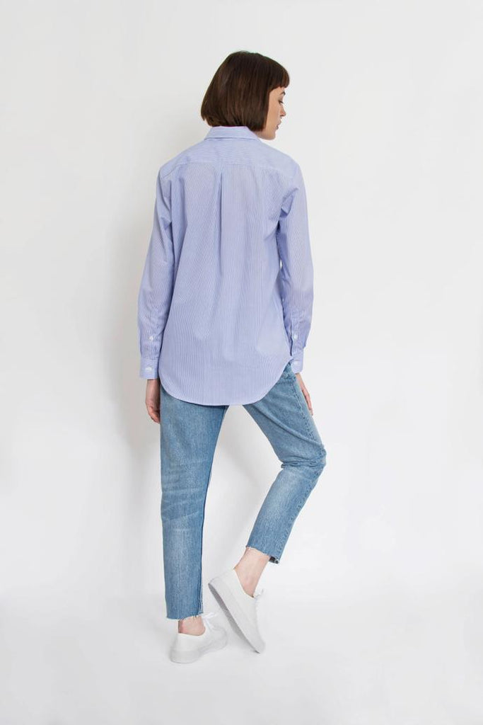 Jetti London-Crooked Boyfriend Shirt-Microstripe Poplin -Silkarmour-1