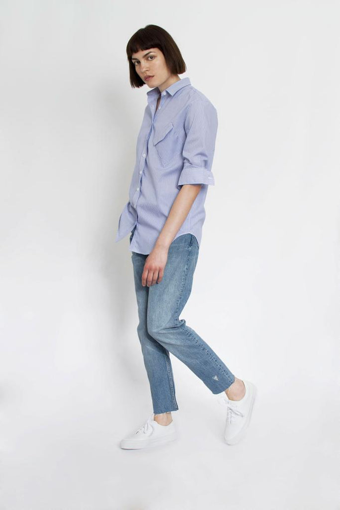 Jetti London-Crooked Boyfriend Shirt-Microstripe Poplin -Silkarmour-5