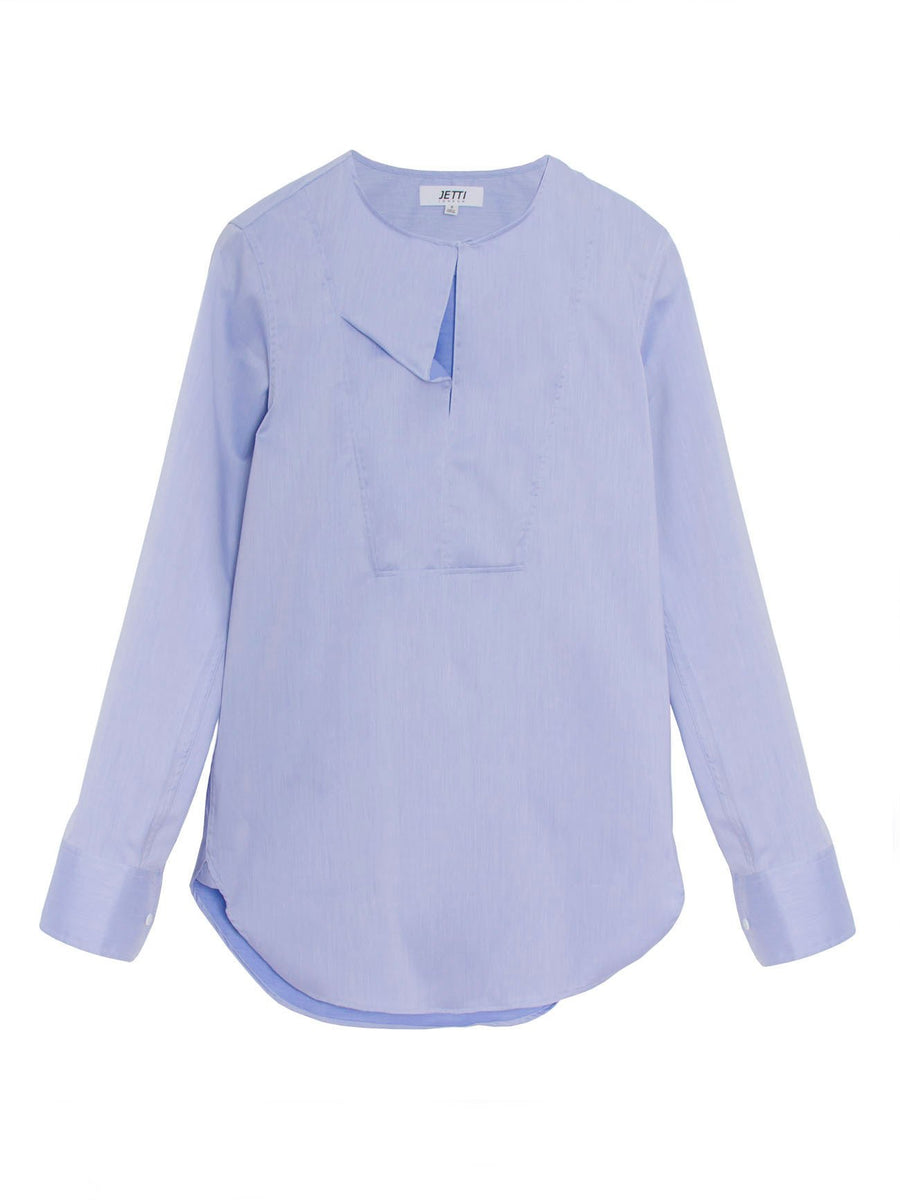 Jetti London-Drape Neck Shirt-Blue-Silkarmour-1