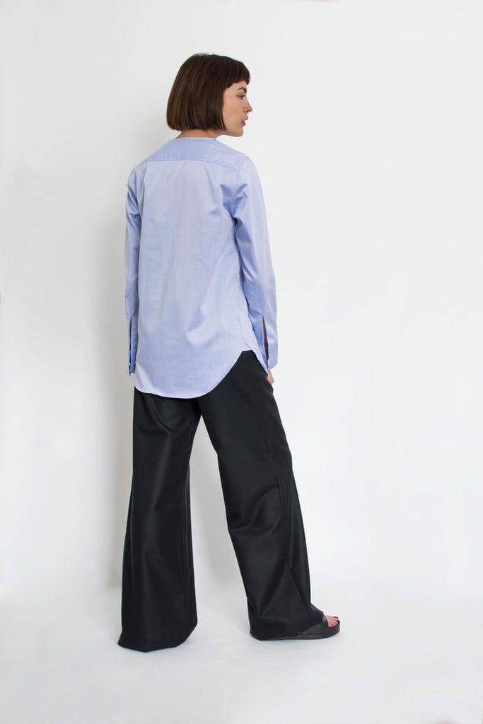 Jetti London-Drape Neck Shirt-Blue-Silkarmour-3