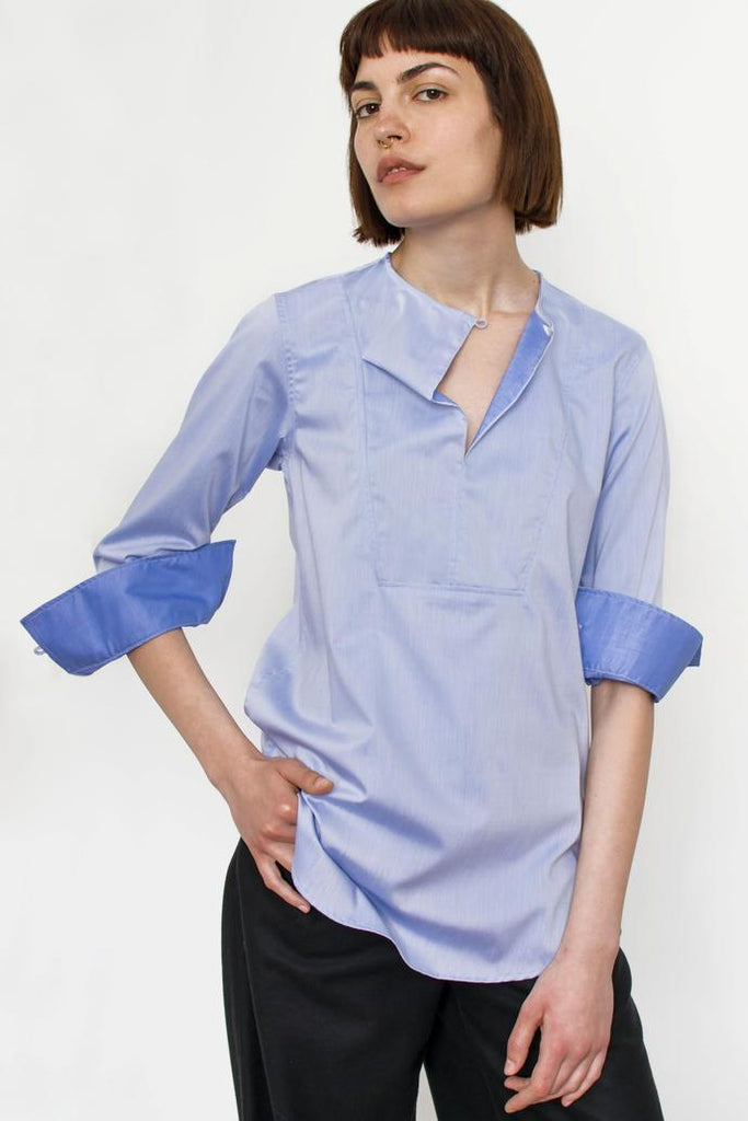 Jetti London-Drape Neck Shirt-Blue-Silkarmour-4