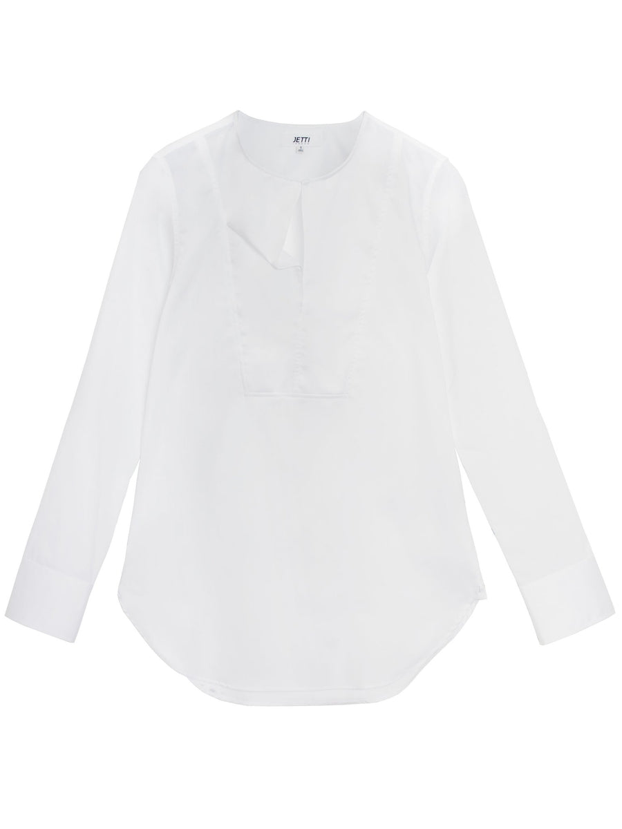 Jetti London-Drape Neck Shirt-White-Silkarmour-1