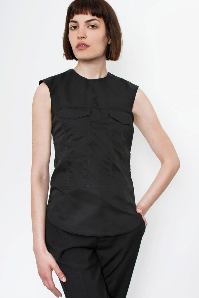 Jetti London-Sleeveless Trucker Top-Black-Silkarmour-2