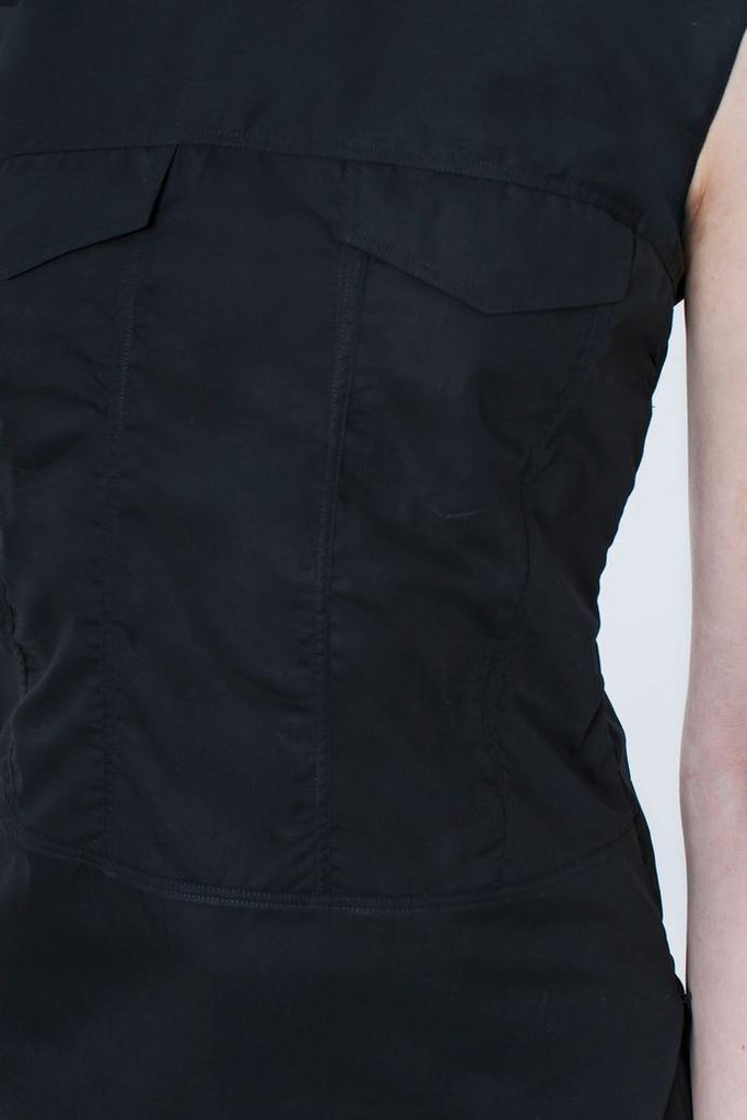 Jetti London-Sleeveless Trucker Top-Black-Silkarmour-5