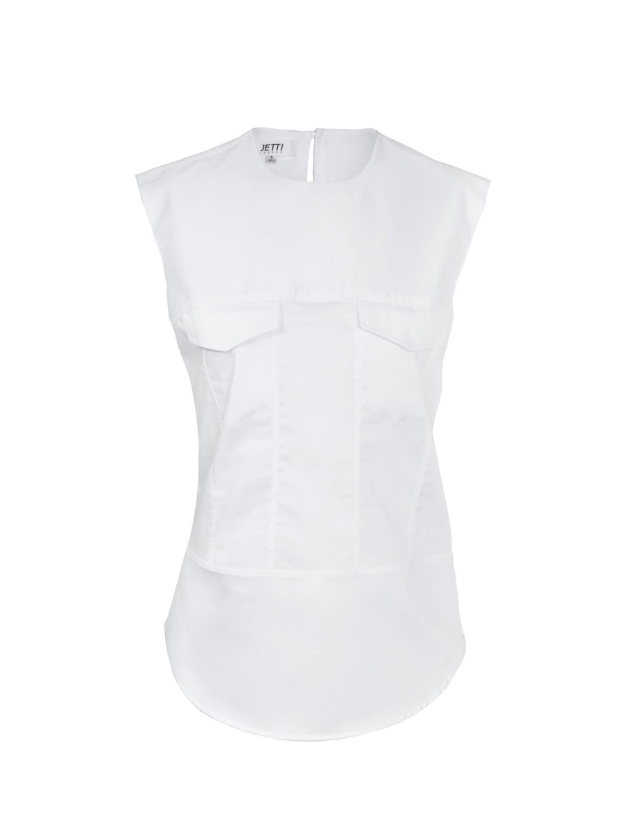 Jetti London-Sleeveless Trucker Top-White-Silkarmour-1