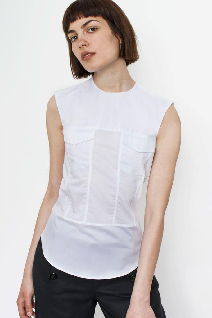 Jetti London-Sleeveless Trucker Top-White-Silkarmour-4