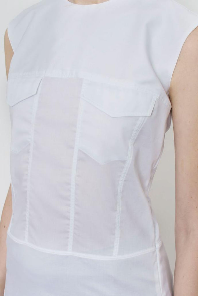 Jetti London-Sleeveless Trucker Top-White-Silkarmour-5