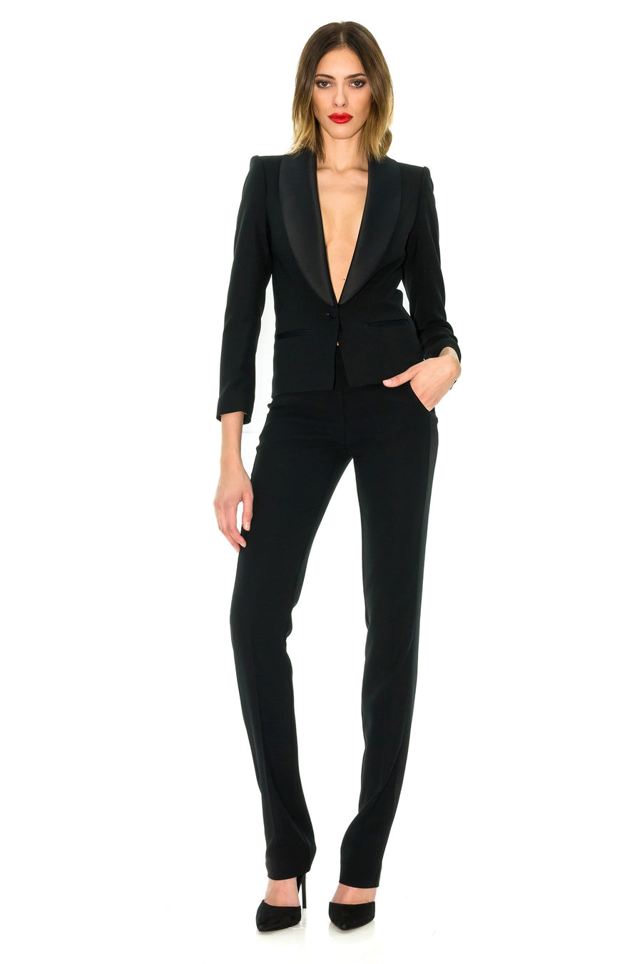 BLACK SHORT SLEEVE TUXEDO JACKET