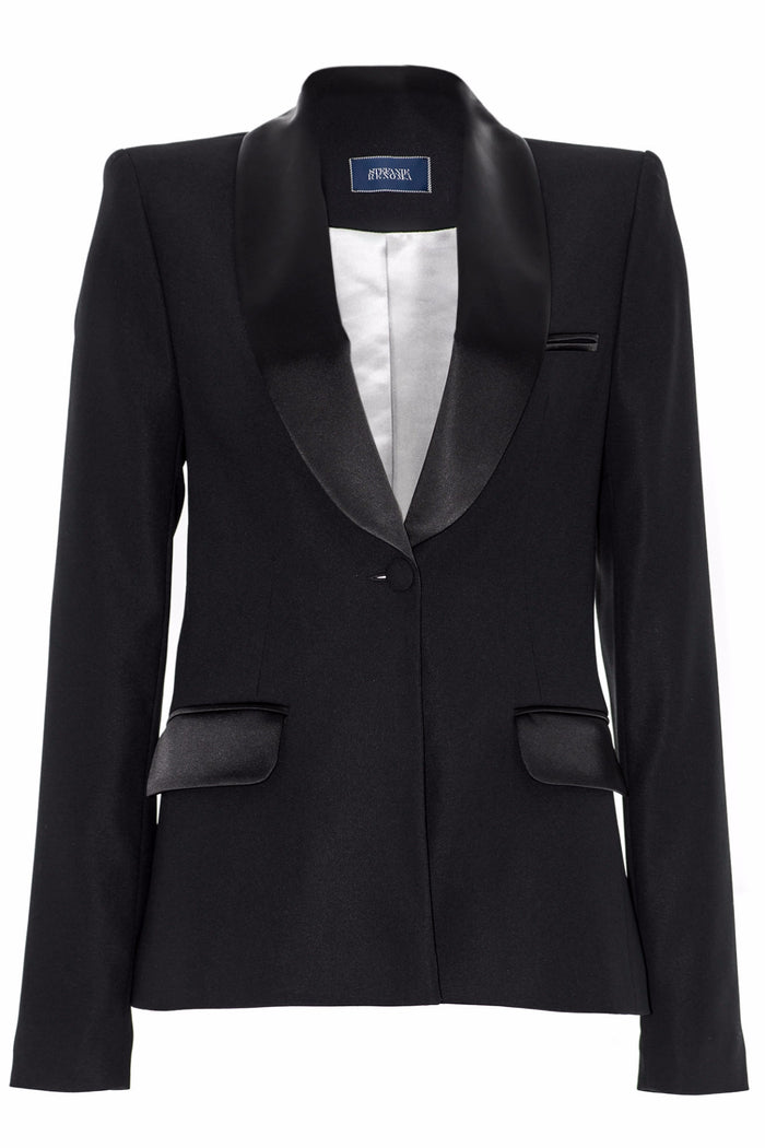STEFAN RENOMA - BLACK SATIN TUXEDO JACKET FOR WOMEN - SILKARMOUR - 1