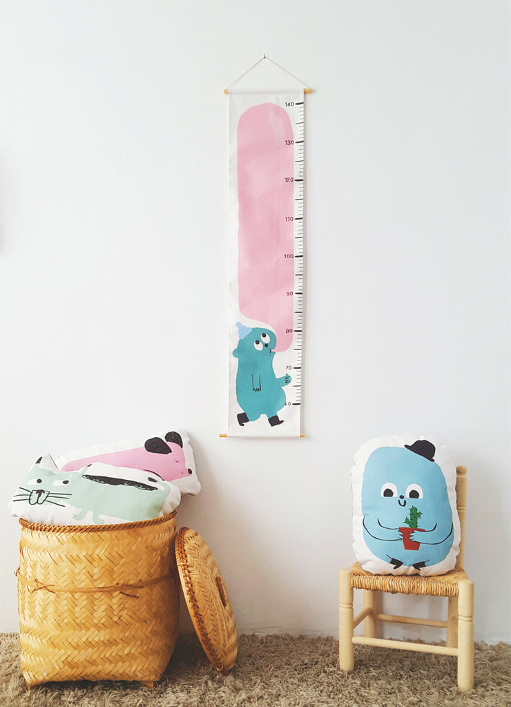 Guimo Height Charts and throw pillows