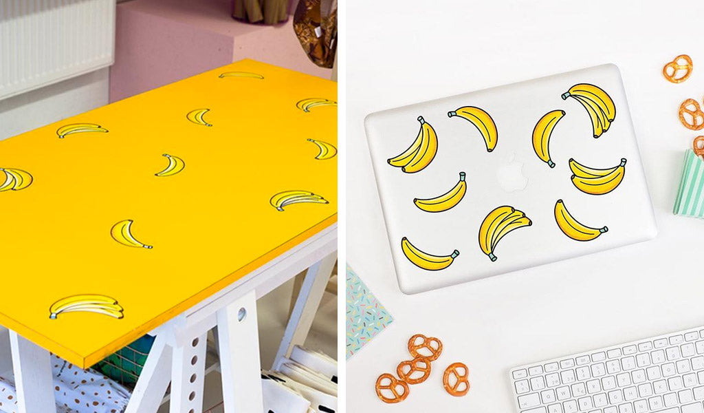 Banana stickers for laptops, walls and furniture