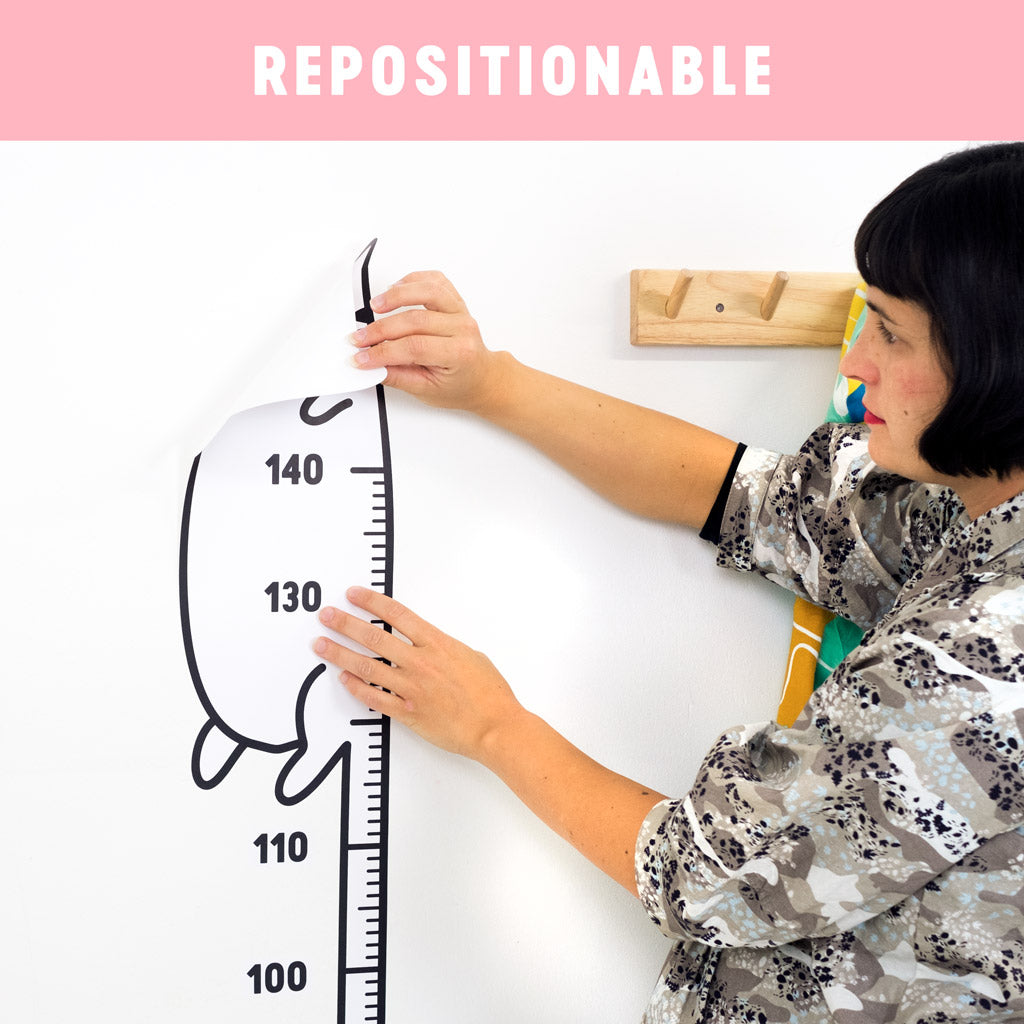 Repositionable height chart stickers for kids rooms