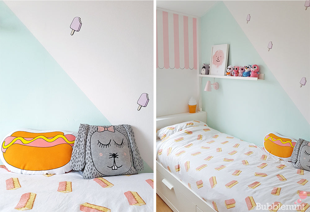 Ice cream wall decals room make over