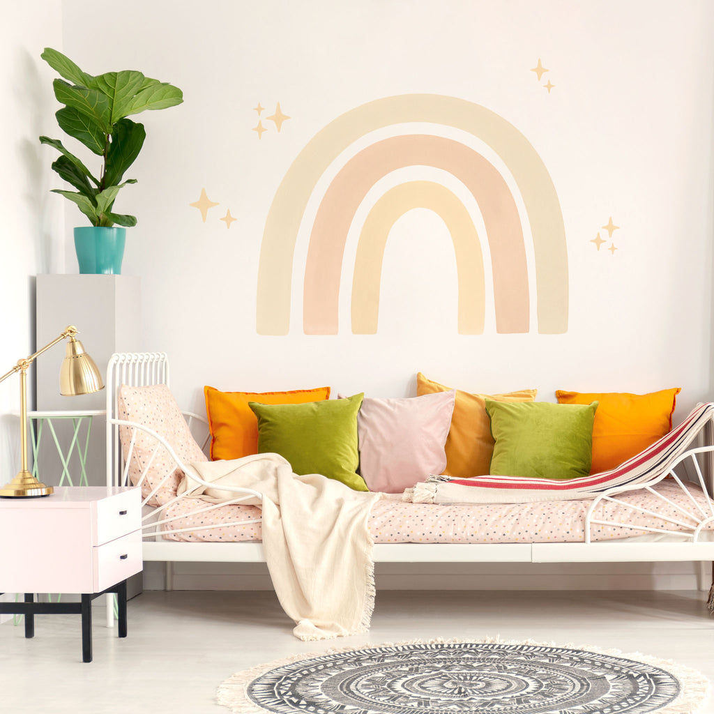 Big Watercolour Rainbow wall sticker, Boho