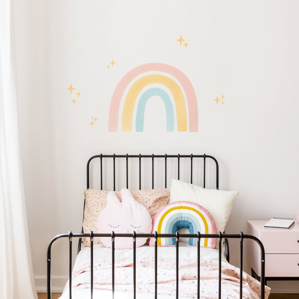 Big Watercolour Rainbow wall sticker, Pastel