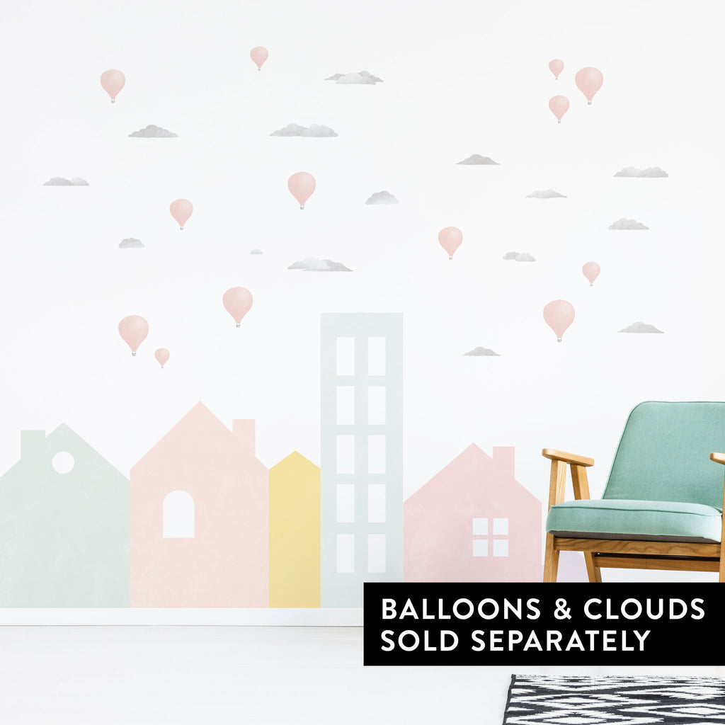 Big City Mural Wall Stickers, Pastel, wall decals by Made of Sundays