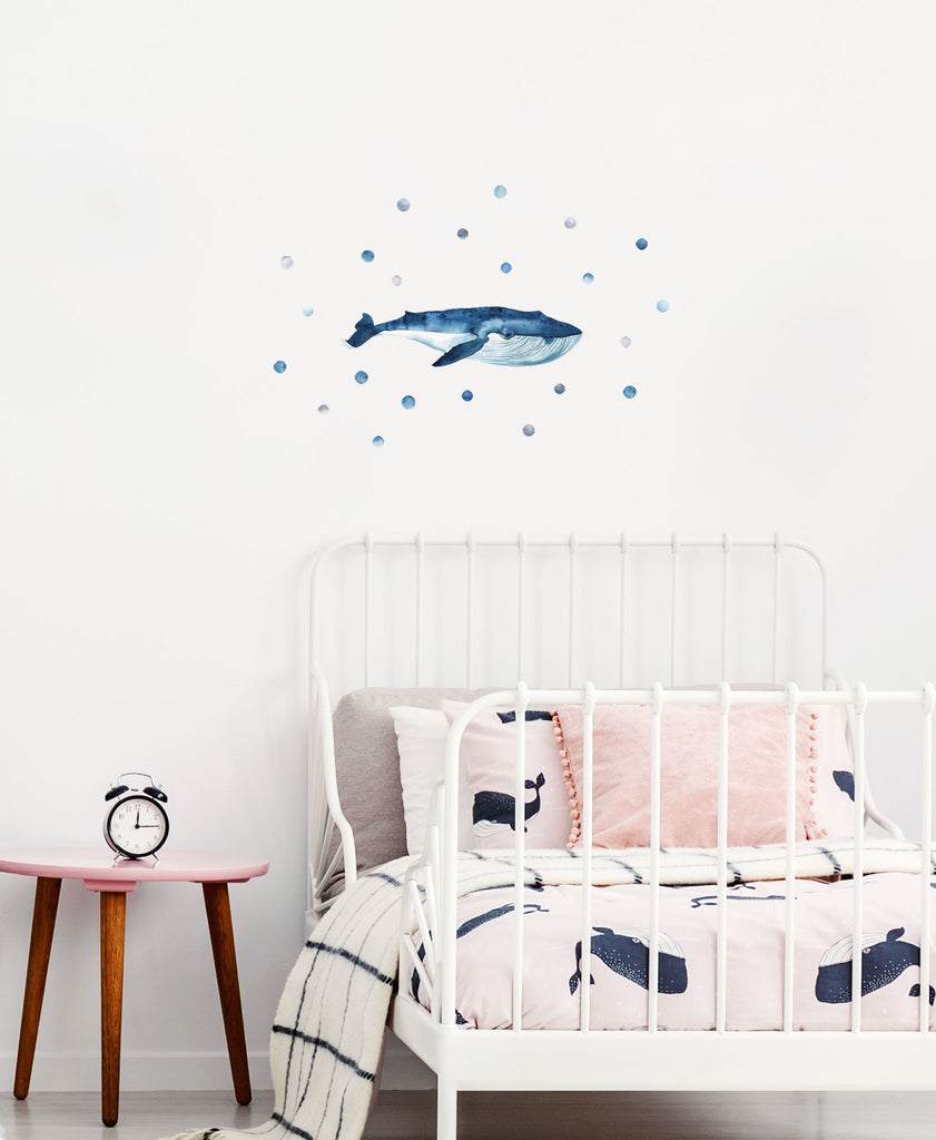Big Blue Whale Wall Stickers, wall decals by Made of Sundays