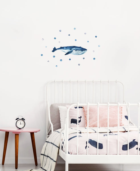 Big Blue Whale, wall decals by Made of Sundays