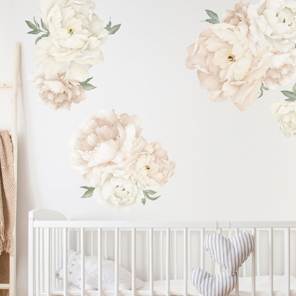Beautiful Watercolor Peony Flower Wall Stickers In Boho Inspired Colours Made Of Sundays