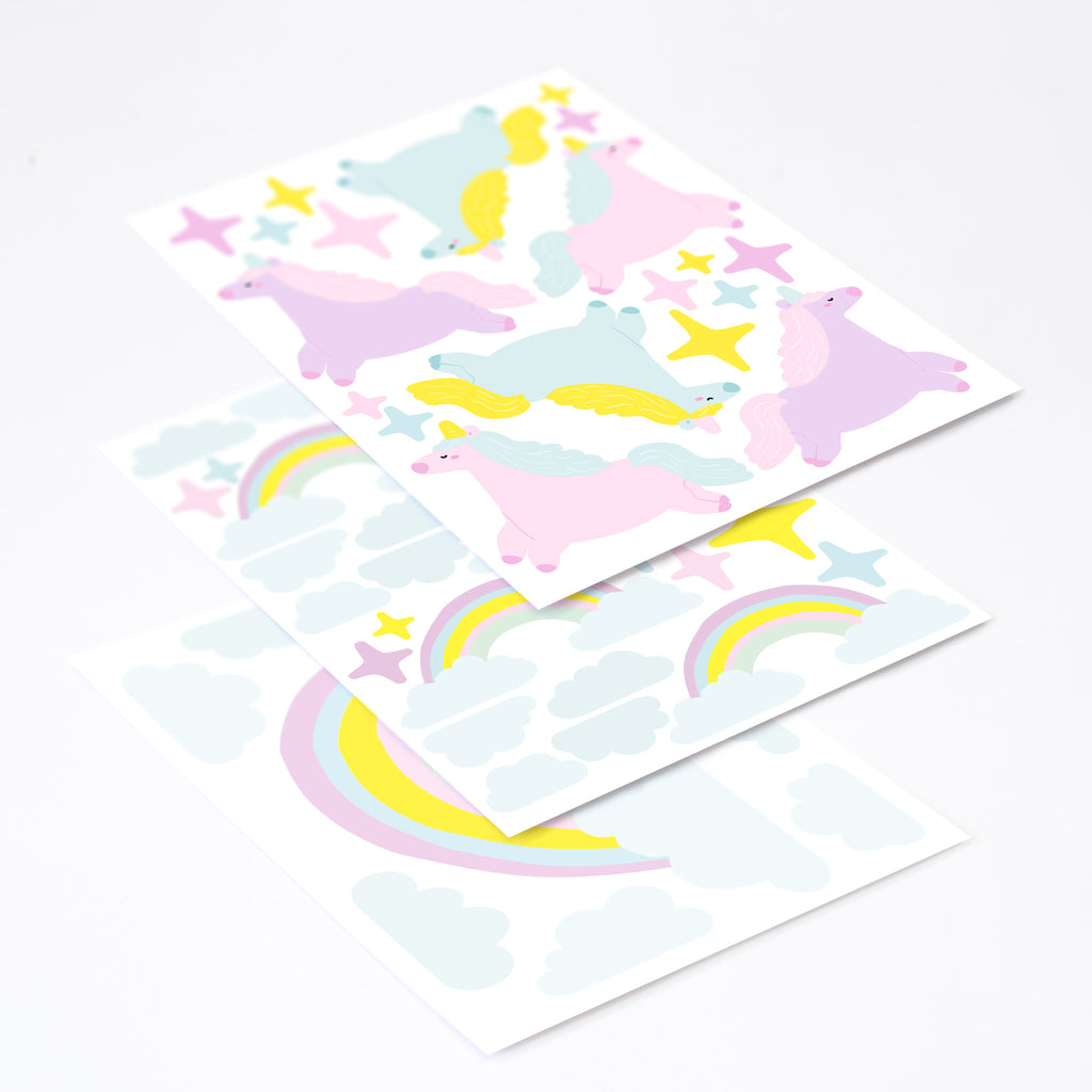 Unicorns & Rainbows Wall Stickers Theme Pack, wall decals by Made of Sundays