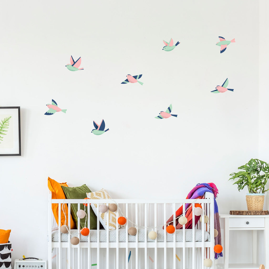 Coloful Forest Birds, wall decals by Made of Sundays