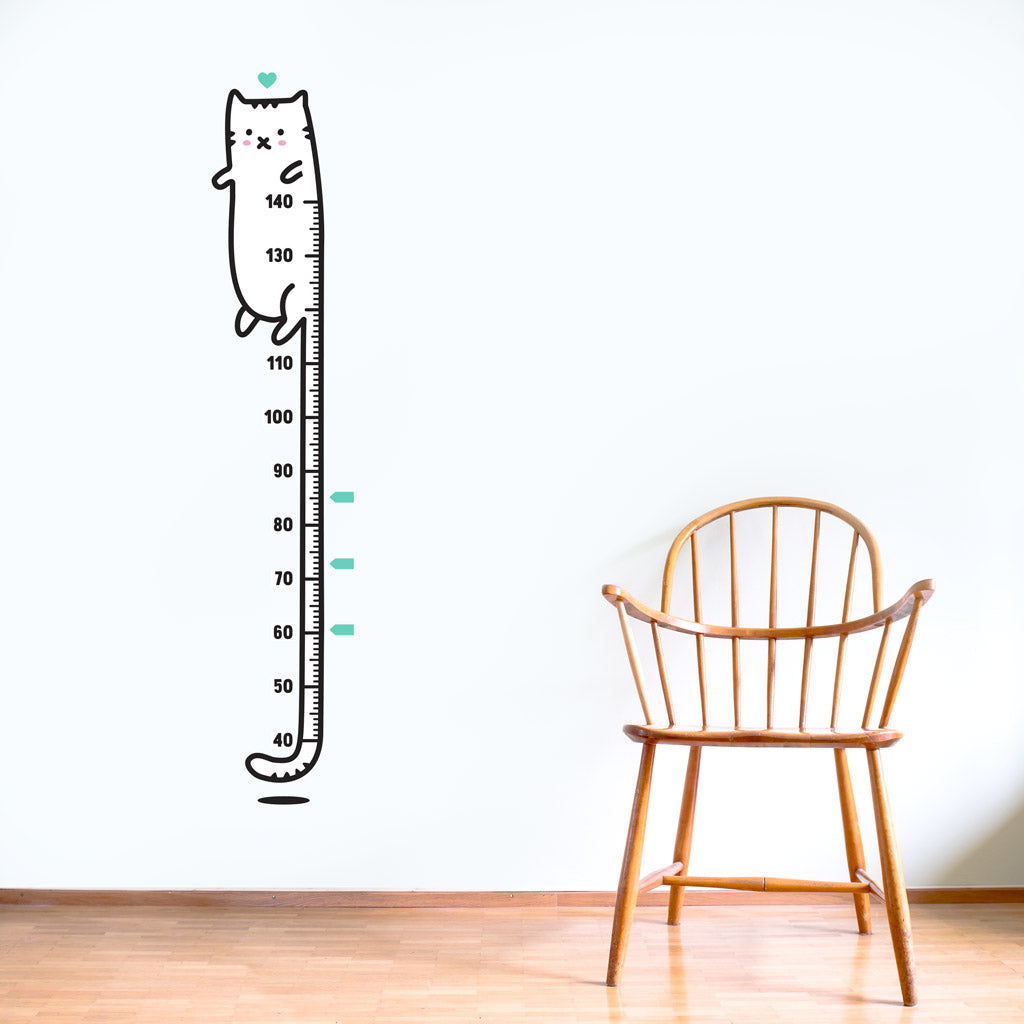 Cat growth chart sticker for kids rooms