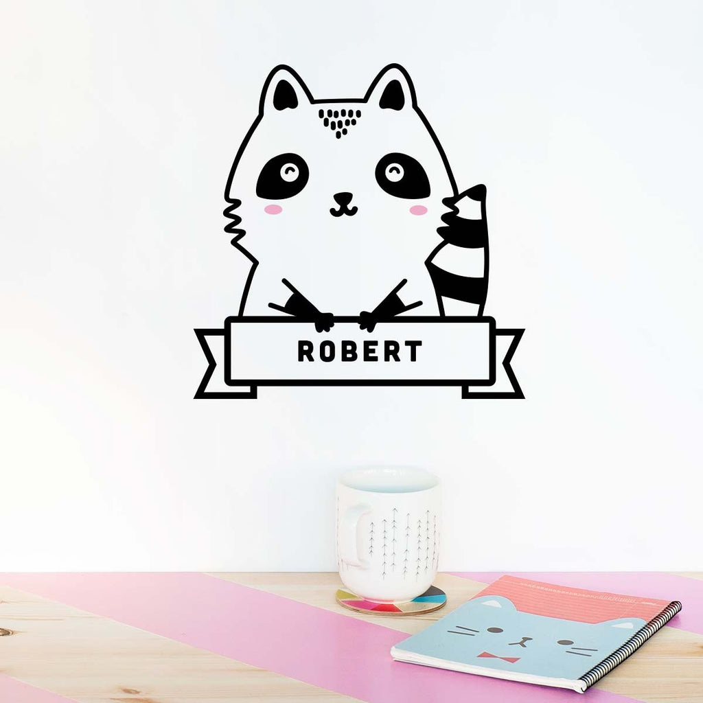Name Sticker, Robert the Raccoon, wall decals by Made of Sundays