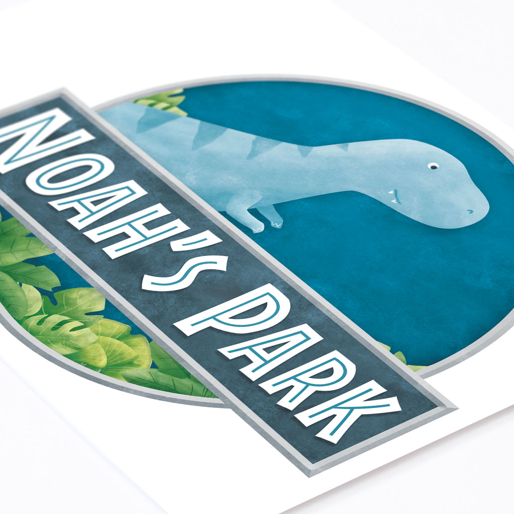 Dino World Name Sign, wall decals by Made of Sundays