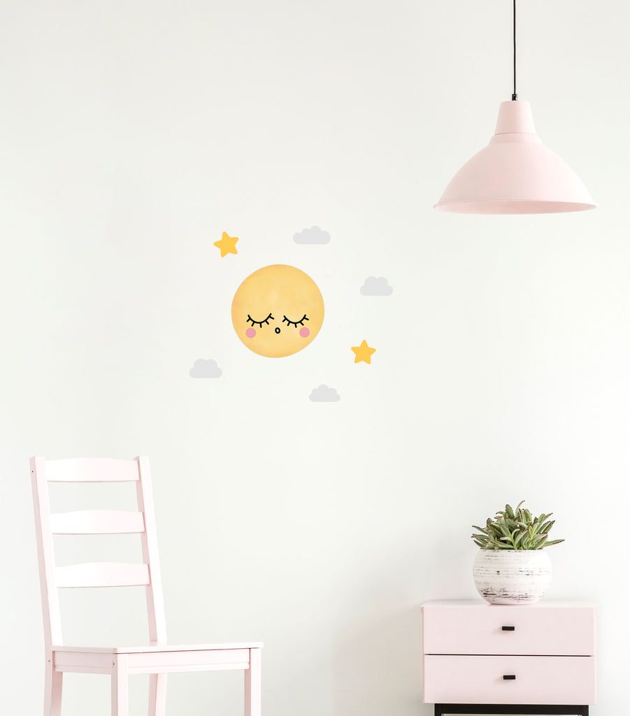 Dreamers Sleepy Full Moon Wall Stickers, wall decals by Made of Sundays