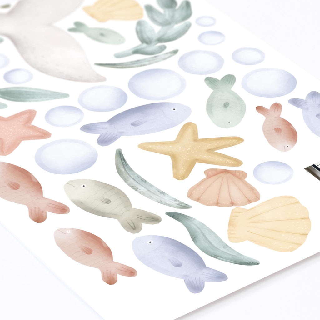 Dreamy Grey Whale & Fishes Wall Stickers