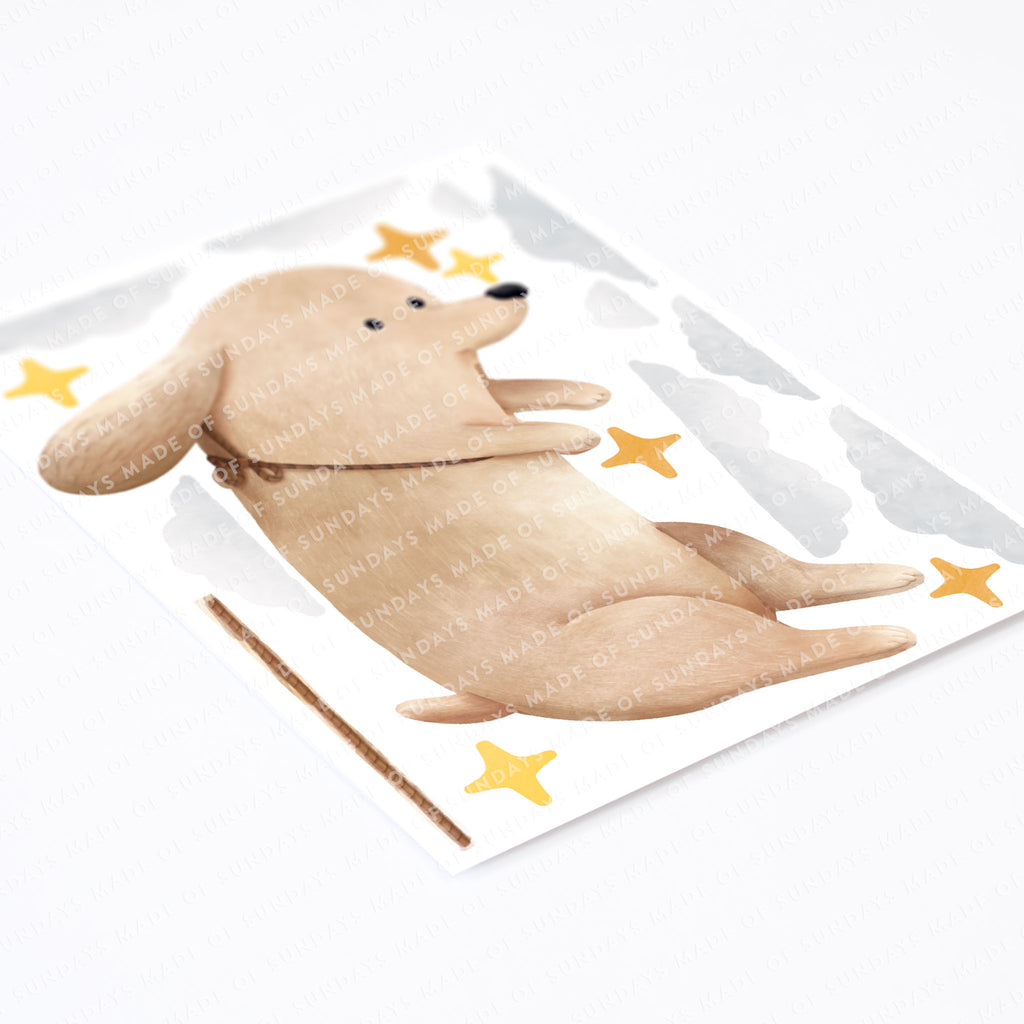 Personalised Floating Dog Wall Sticker