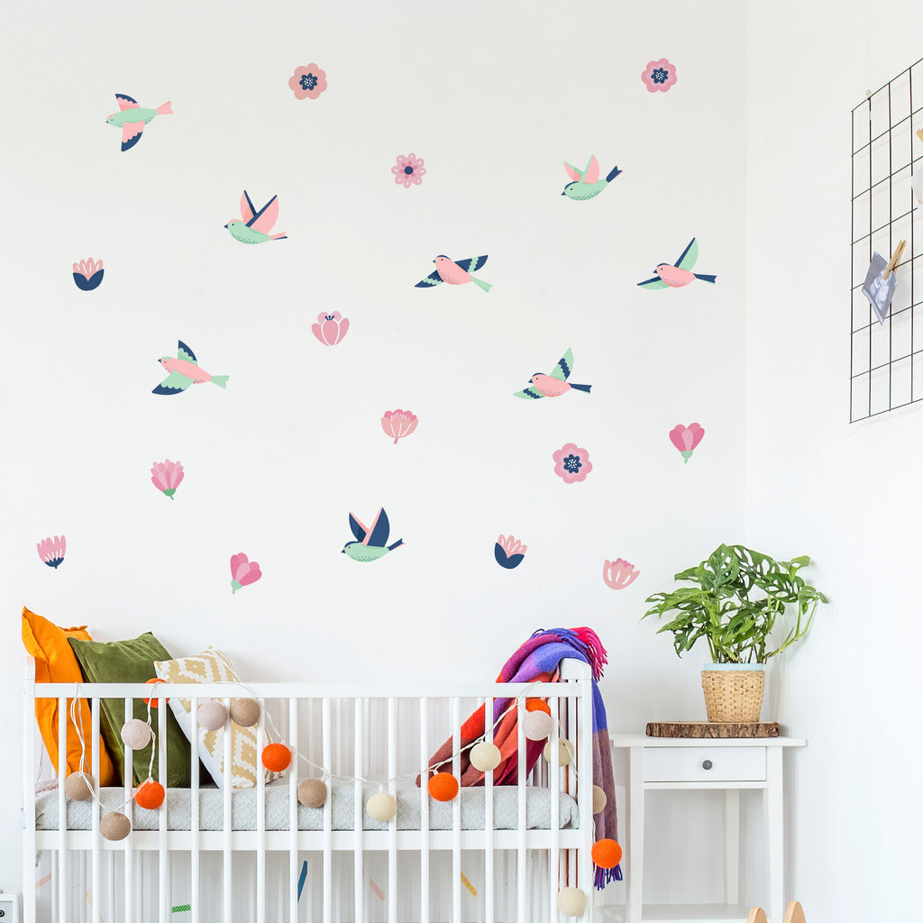Forest Pink Flowers, wall decals by Made of Sundays
