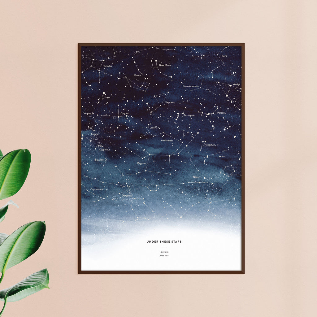 Night Sky Star Map, Indigo, wall decals by Made of Sundays