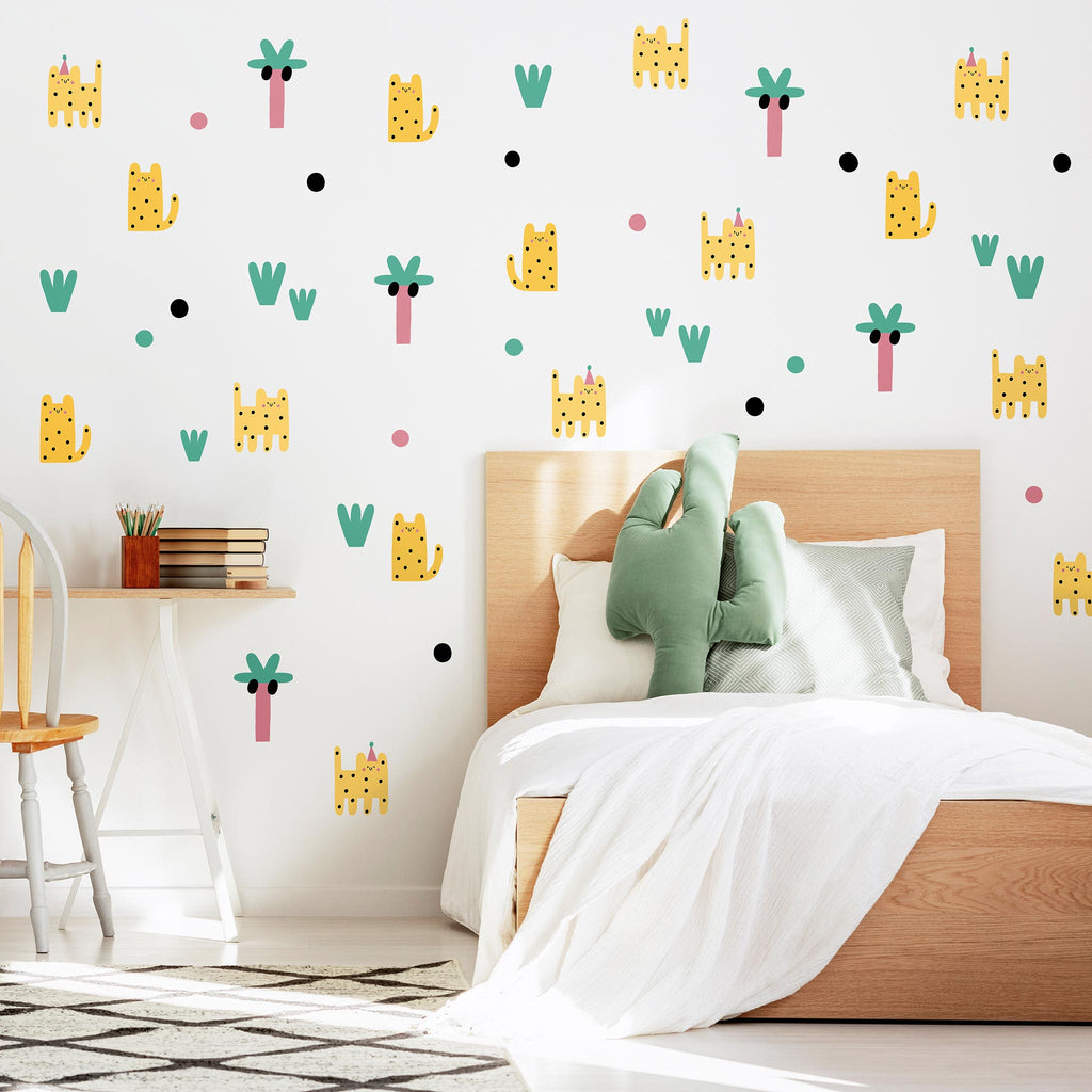 Leoparty & Palms Wall Stickers Bundle Pack, wall decals by Made of Sundays