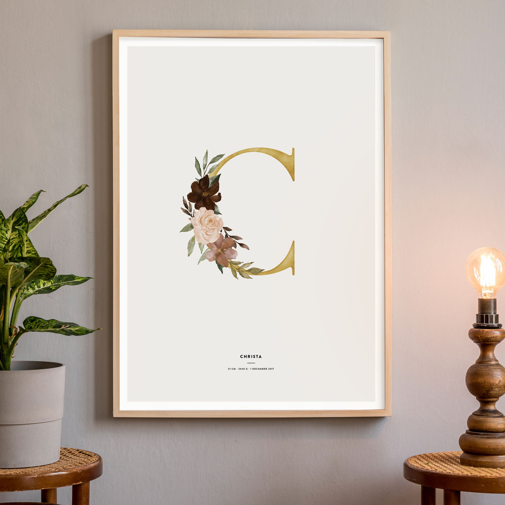 Birth Poster, Floral Letter, wall decals by Made of Sundays