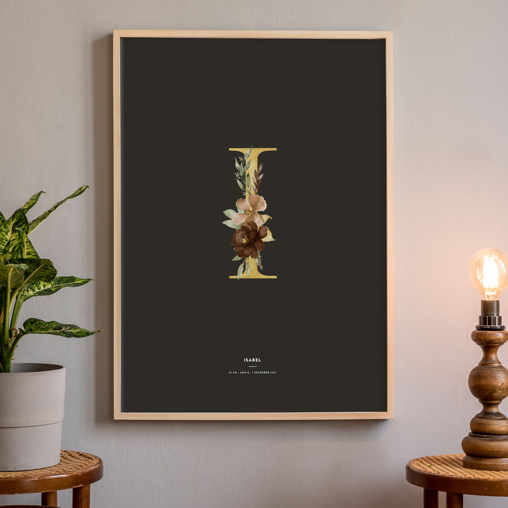 Birth Poster, Floral Letter - Dark