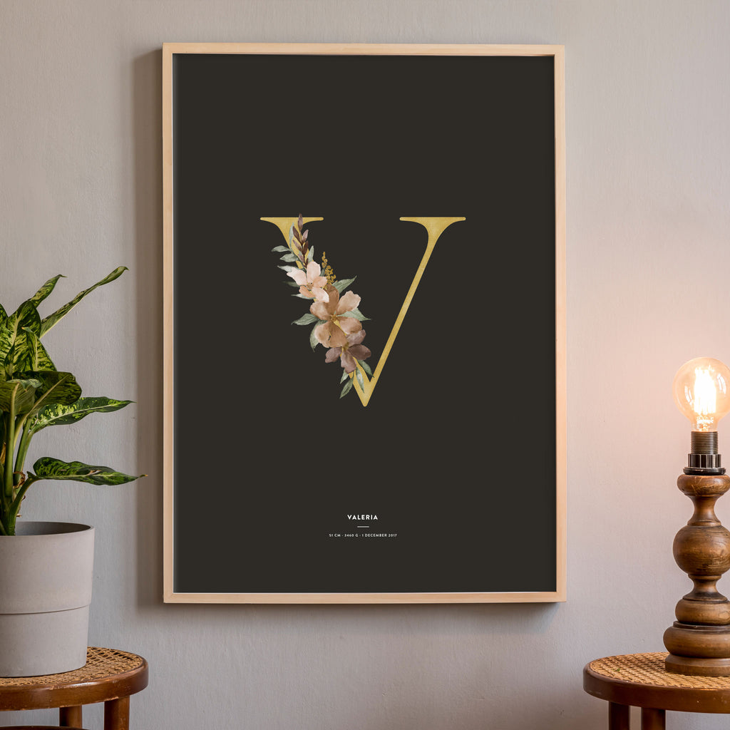 Birth Poster, Floral Letter - Dark, wall decals by Made of Sundays