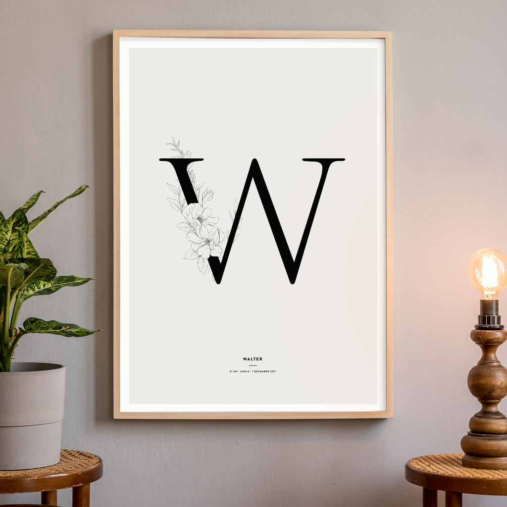 Letter Poster, Black & White letter, wall decals by Made of Sundays
