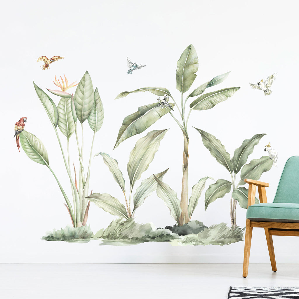 Lush Jungle Plants and Parrots Wall Stickers
