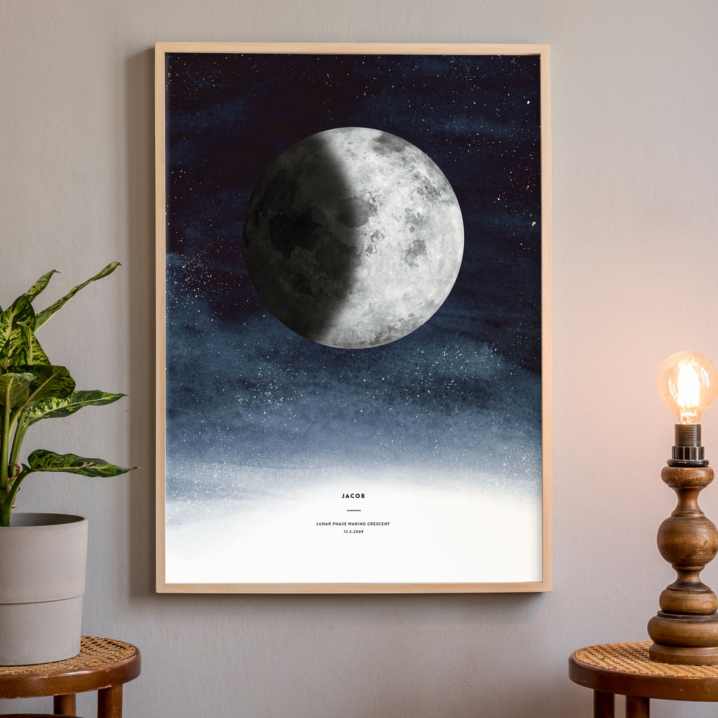 Lunar Phase Poster, Indigo, wall decals by Made of Sundays