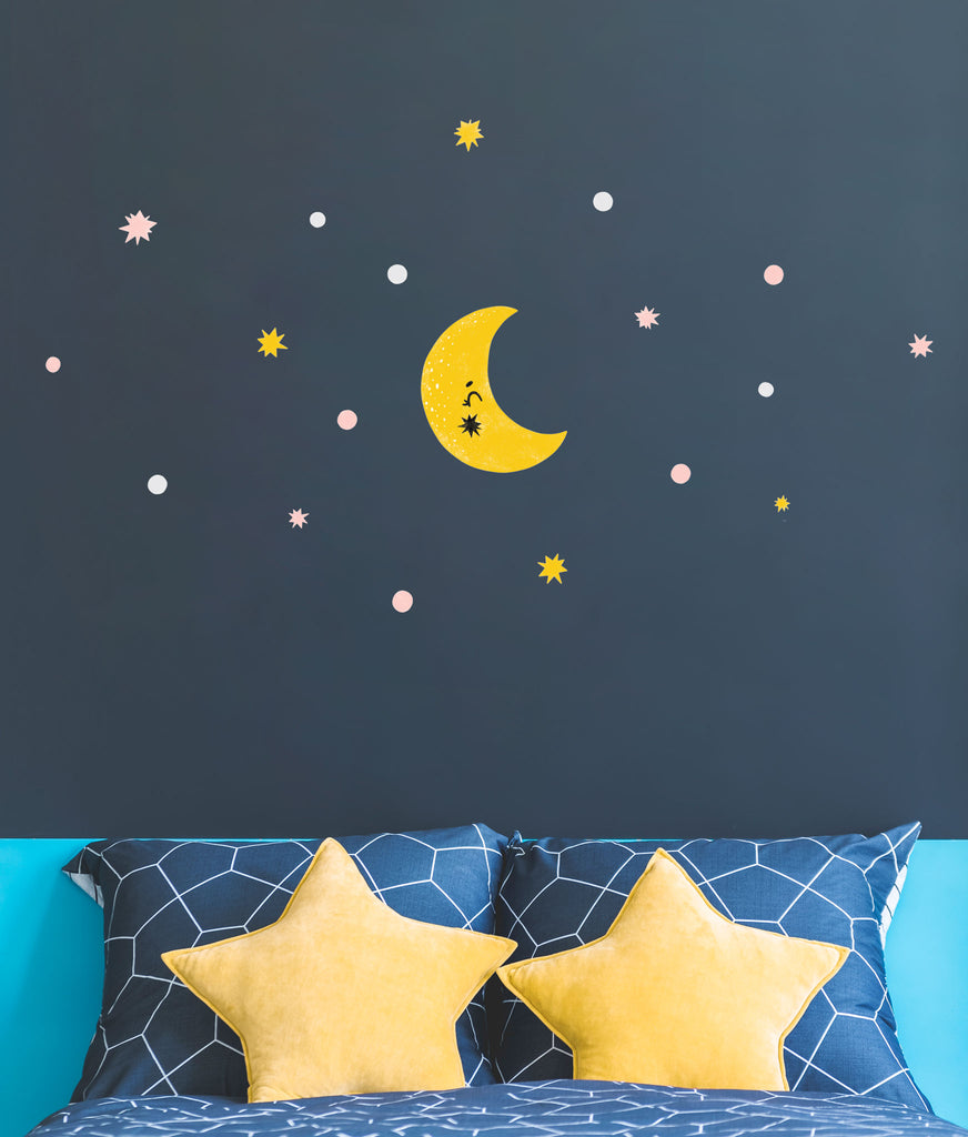Galaxy Moon Wall Stickers, wall decals by Made of Sundays