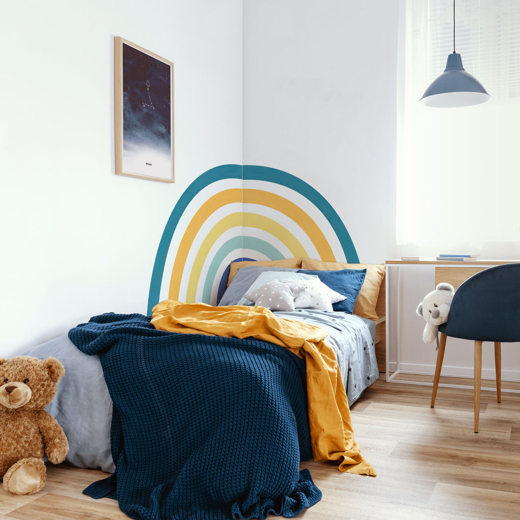 Rainbow Mural wall sticker, Blue, wall decals by Made of Sundays