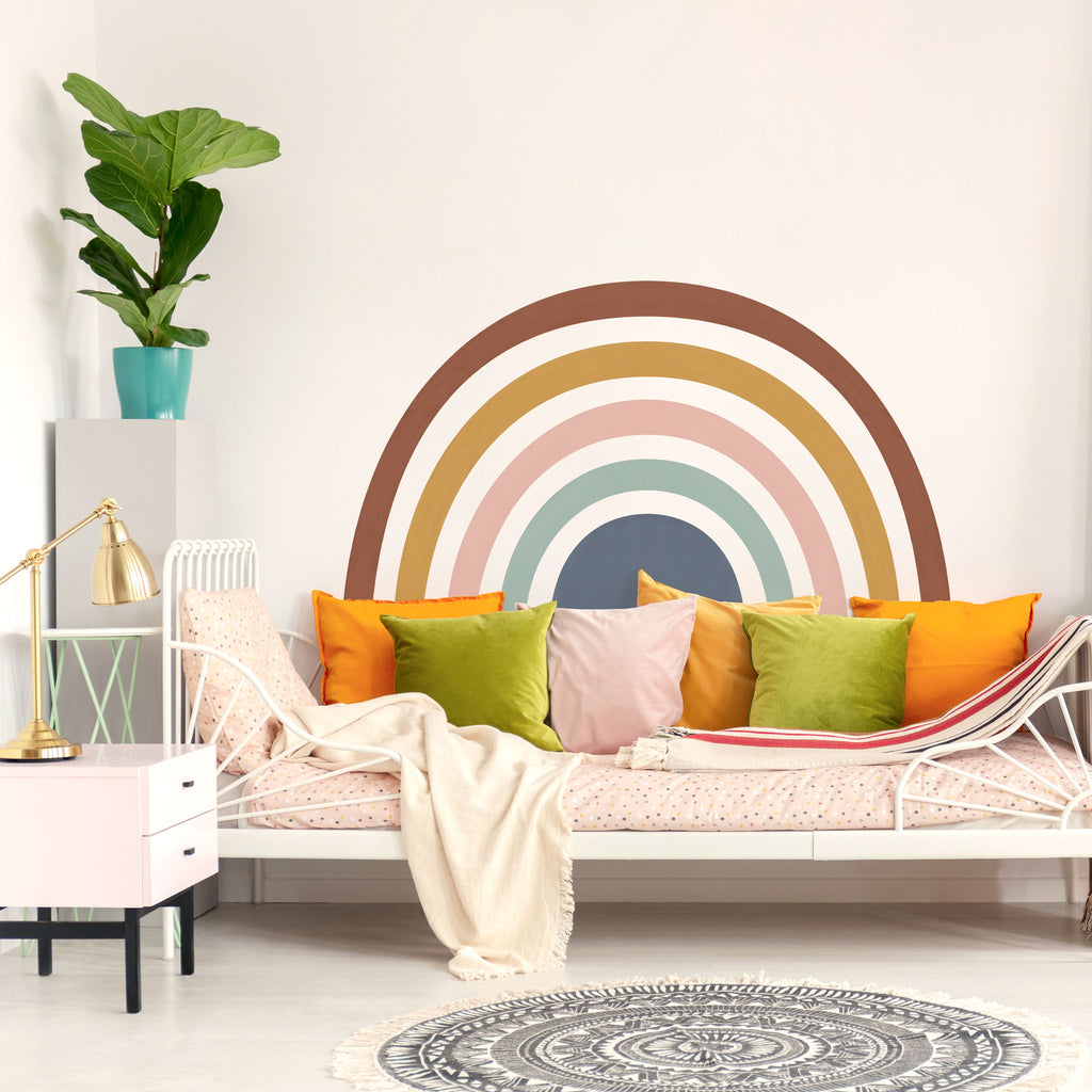 Rainbow Mural wall sticker, Muted