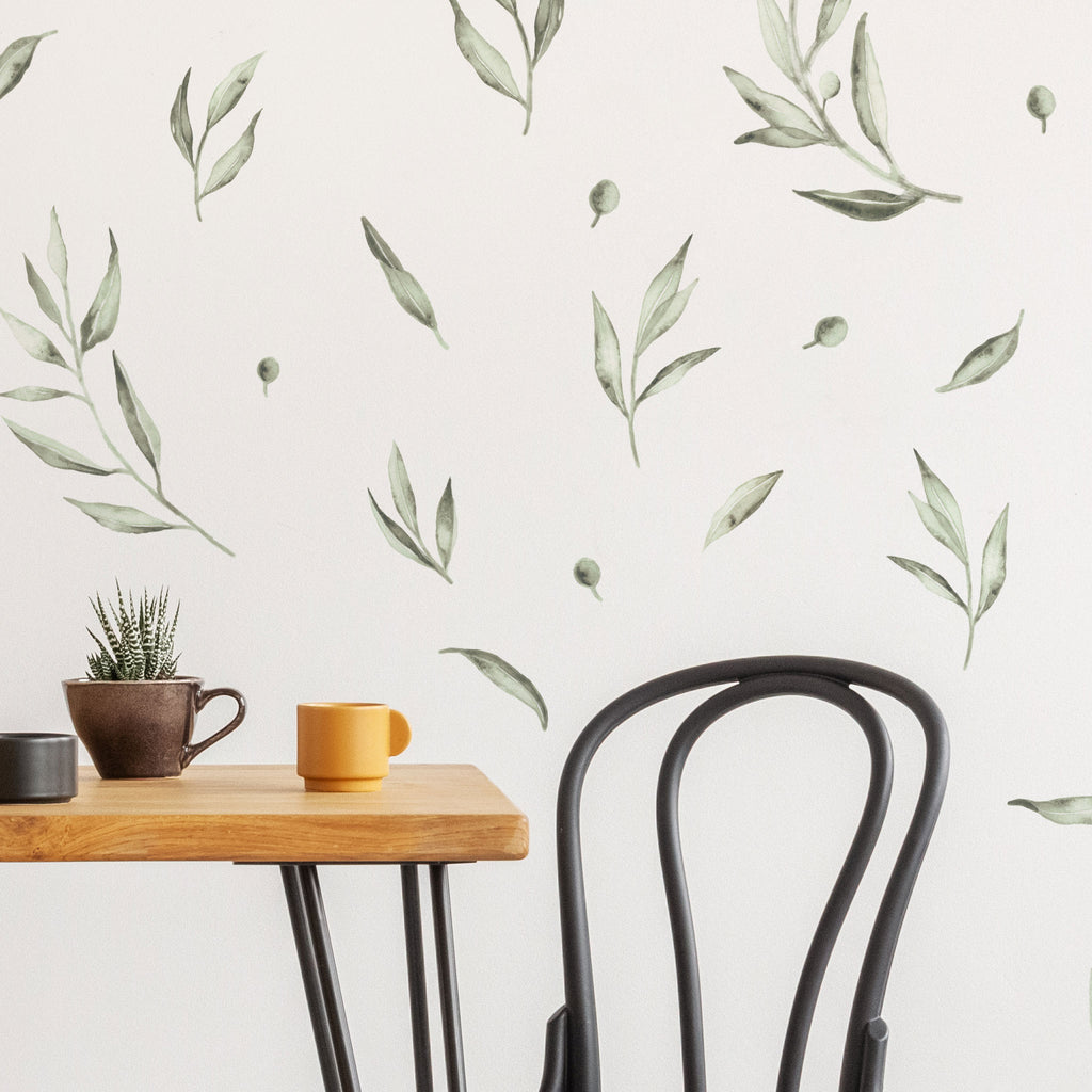 Botanical Olive Leaves Wall Stickers