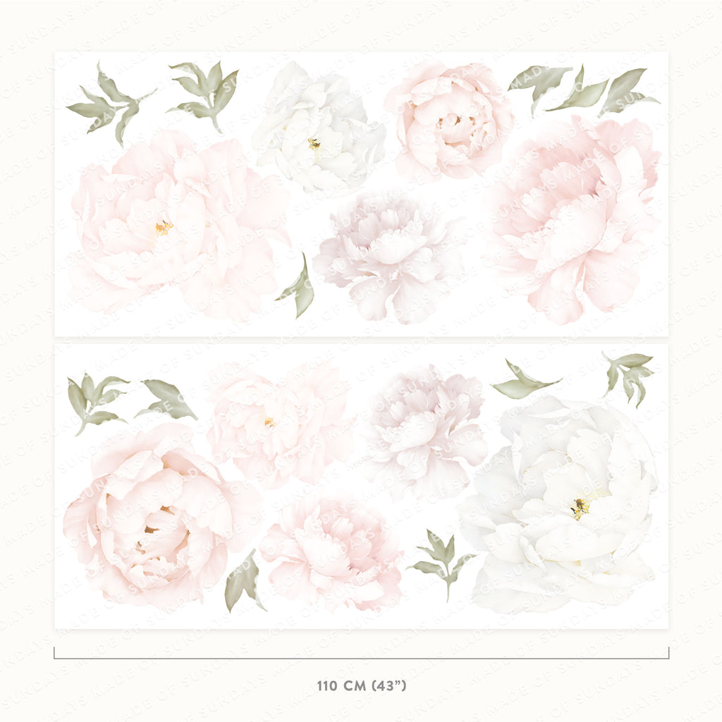 Pink Peony Floral Wall Stickers, wall decals by Made of Sundays