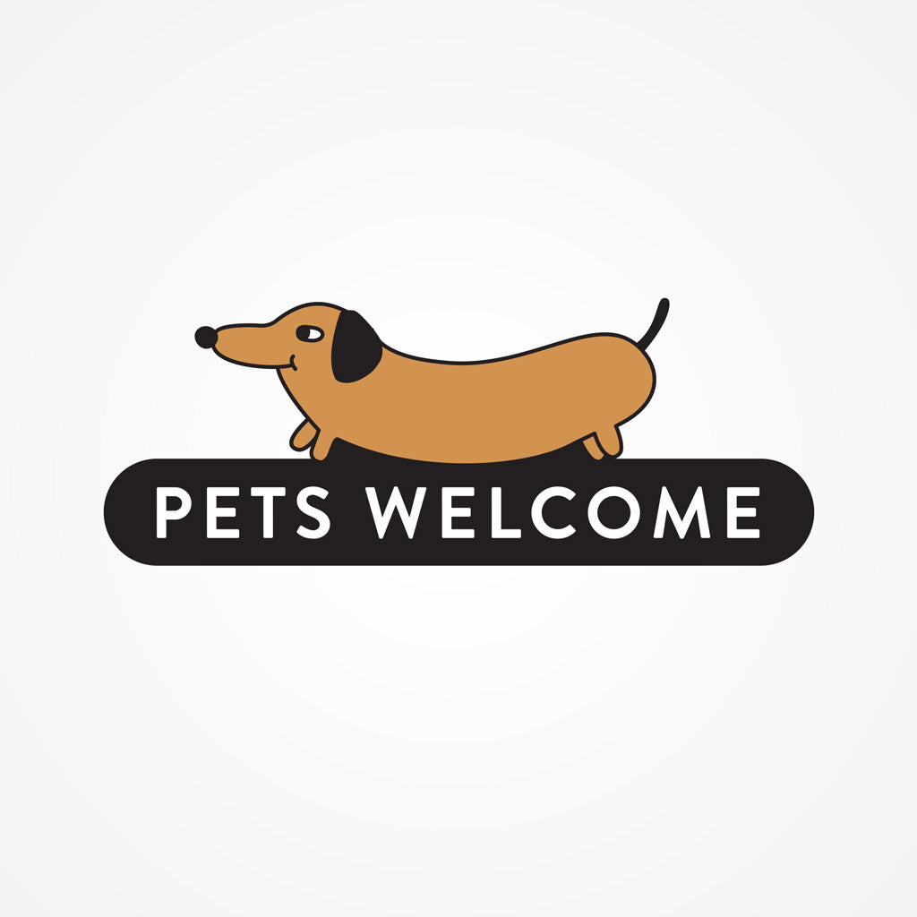 Pets Welcome sticker, wall decals by Made of Sundays
