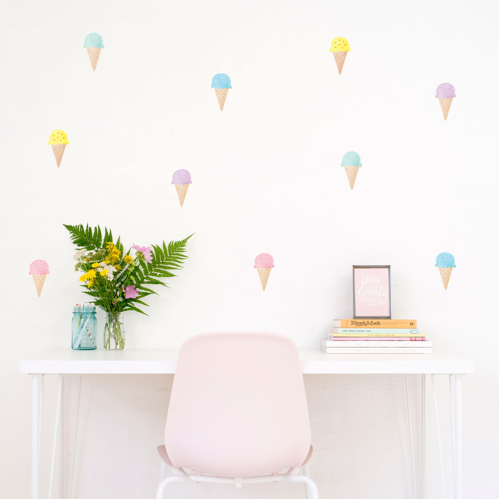 Ice Cream Cones Wall Stickers, wall decals by Made of Sundays