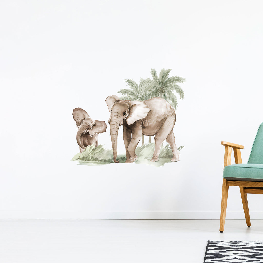 Elephants with Palms Wall Sticker