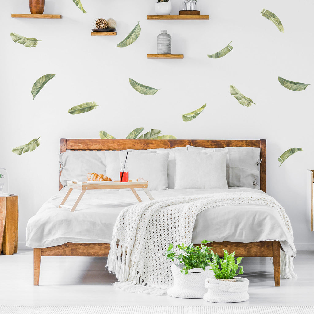 Small Watercolor Palm Leaves Wall Stickers, wall decals by Made of Sundays